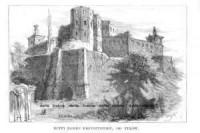 Ruiny Zamku Krzysztopory, od tyłów - zdjęcie reprintu, mapy