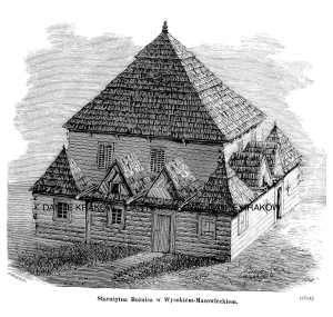 Starożytna Bożnica w Wysokiem-Mazowieckiem - zdjęcie reprintu, mapy