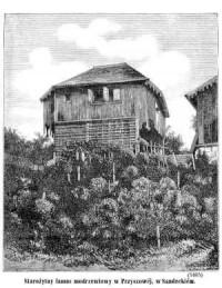 Starożytny lamus modrzewiowy w Przyszowej, w Sandeckiem - zdjęcie reprintu, mapy