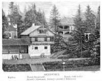 Szczawnica. Domek Szwajcarski. Zamek, obok źródeł - zdjęcie reprintu, mapy
