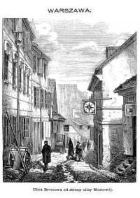 Ulica Brzozowa od strony ulicy Mostowej - zdjęcie reprintu, mapy
