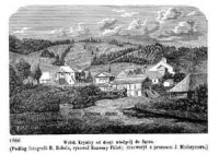 Widok Krynicy od drogi wiodącej do Sącza - zdjęcie reprintu, mapy