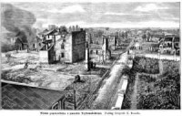 Widok pogorzeliska z gmachu Trybunalskiego - zdjęcie reprintu, mapy
