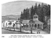 Widok źródła w Krynicy, z przyległą górą i dom zwany Pod Orłem - zdjęcie reprintu, mapy