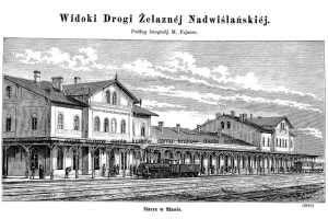 Widoki Drogi Żelaznej Nadwiślańskiej. - zdjęcie reprintu, mapy