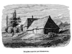 Wiejska zagroda pod Krakowem - zdjęcie reprintu, mapy