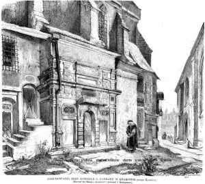 Zabudowania przy kościele św Barbary - zdjęcie reprintu, mapy