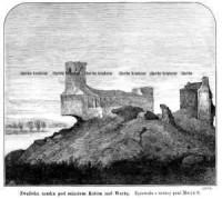 Zwaliska zamku pod miastem Kołem nad Wartą - zdjęcie reprintu, mapy
