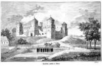 Zwaliska zamku w Mirze - zdjęcie reprintu, mapy