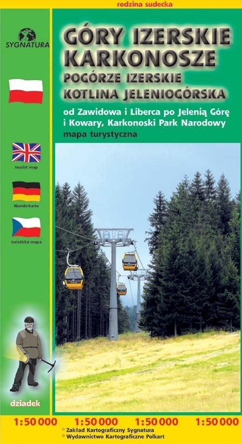 Mapa turystyczna - Góry Izerskie/Karkonoskie, - okładka książki