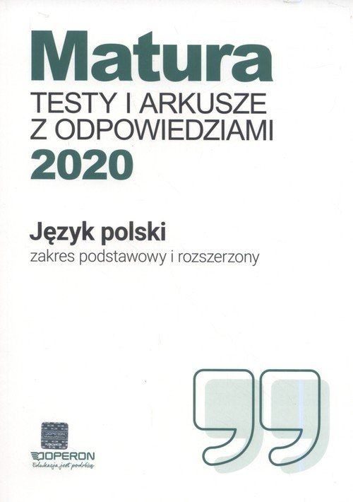Matura 2020. Język polski. Testy - okładka podręcznika