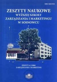 Zeszyty naukowe WSZiM w Sosnowcu. Zarządzanie i Marketing. Zeszyt 1/2006r - okładka książki