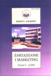 Zeszyty Naukowe WSZiM w Sosnowcu. Zarządzanie i Marketing. Zeszyt 4-2/2003 - okładka książki