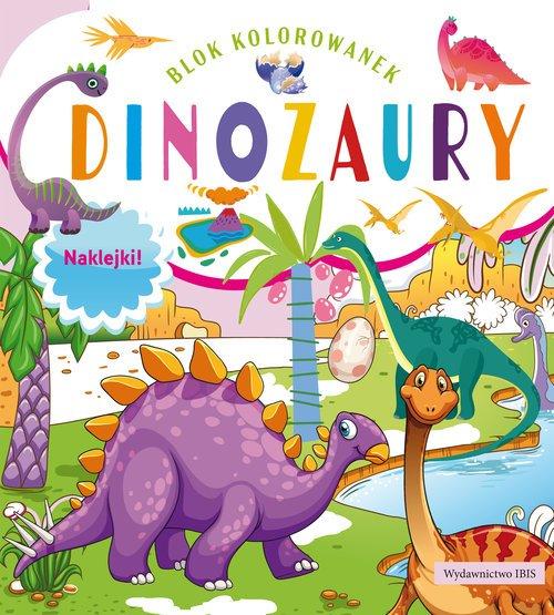 Blok kolorowanek. Dinozaury + naklejki - okładka książki