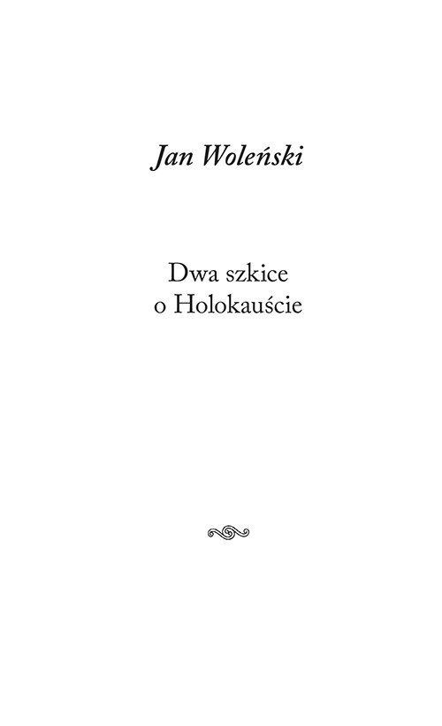 Dwa szkice o Holokauście - okładka książki