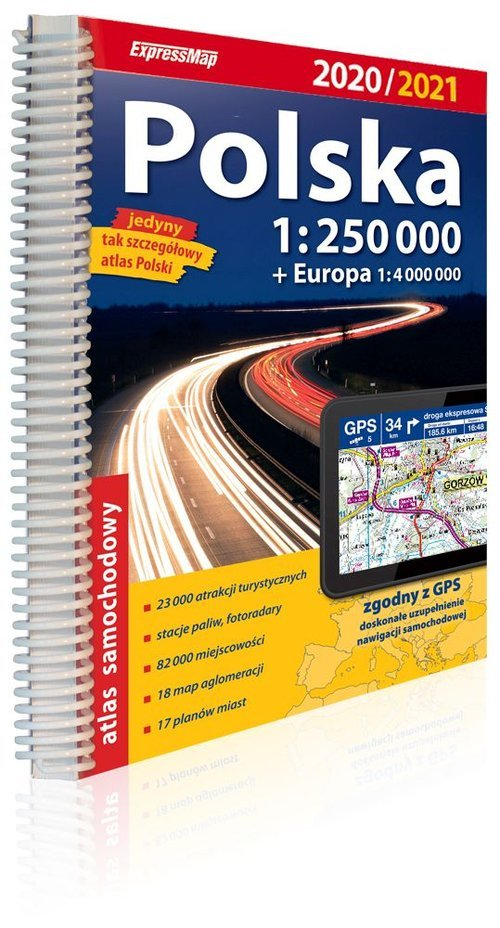 Polska atlas samochodowy 1:250 - okładka książki