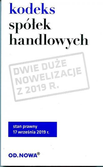 Kodeks spółek handlowych 08.2019 - okładka książki