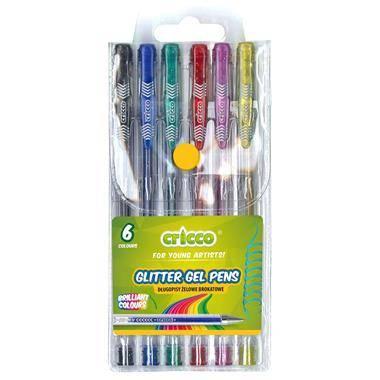 Długopisy żelowe brokatowe 6 kolorów - zdjęcie produktu