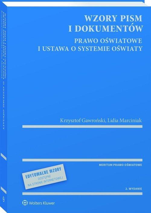 Wzory pism i dokumentów Prawo oświatowe - okładka książki