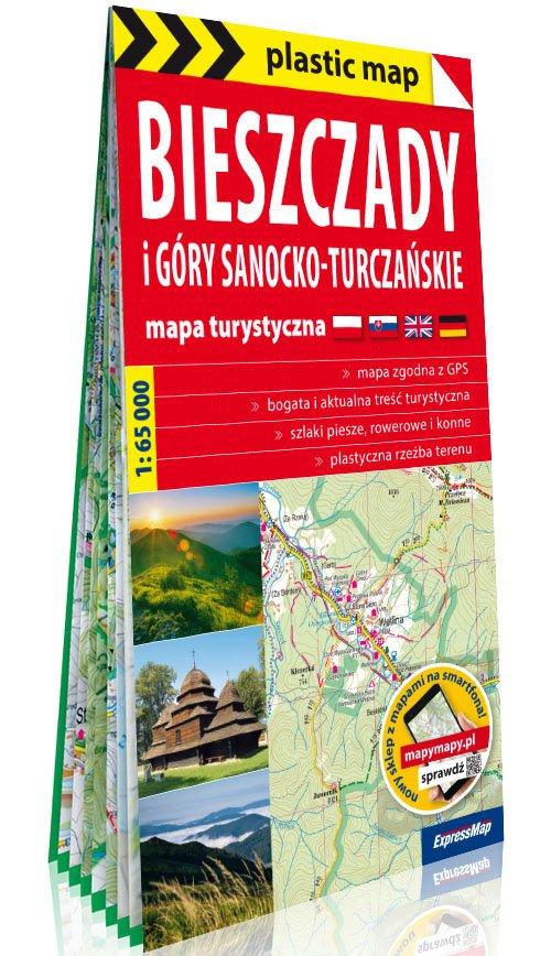 Plastic map Bieszczady i Góry Sanocko-Turczańskie - okładka książki