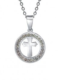 Krzyż otoczony cyrkoniami z łańcuszkiem - zdjęcie