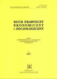 Ruch prawniczy, ekonomiczny i socjologiczny. Zeszyt 12007 - okładka książki