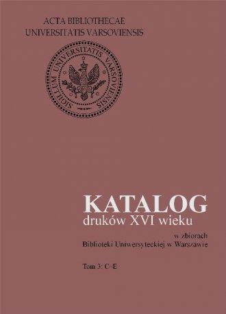 Prace BUW, poz. 31. Katalog druków - okładka książki