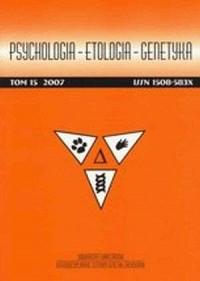 Psychologia. Etologia. Genetyka. Tom 15 - okładka książki