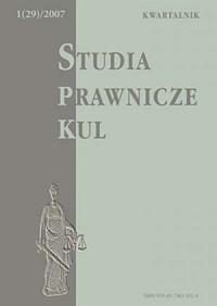 Studia prawnicze KUL, 1/2007 - okładka książki