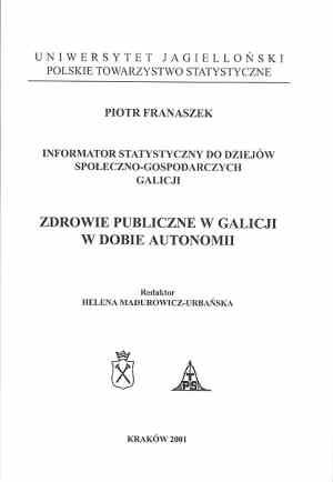 Zdrowie publiczne w Galicji w dobie - okładka książki