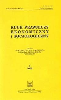 Ruch prawniczy, ekonomiczny i socjologiczny. Zeszyt 12008 - okładka książki