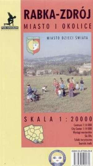 Rabka - Zdrój (mapa miasta i okolic) - zdjęcie reprintu, mapy